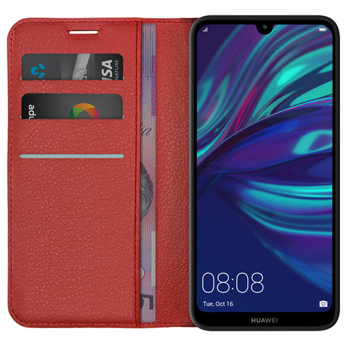 Leather Wallet Case & Card Holder Pouch for Huawei Y7 Pro (2019) - Red